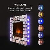 KLARSTEIN Colmar - Elektrischer Kamin, E-Kamin, Elektrokamin, Heizlüfter, Glas, bis 2000 Watt, 7 LED-Farben Hintergrundbeleuchtung, Flammeneffekt, Steindekor, inkl. Fernbedienung, grau - 4