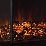Klarstein Castillo, elektrischer Kamin, Kaminofen, Flammensimulation, 1000W/2000W, Halogen-Beleuchtung, Überhitzungsschutz, Metallgehäuse, Glasfront, schwarz - 5