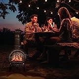 Relaxdays Terrassenofen, Feuerofen mit Schürhaken, Gusseisen, Funkenschutz, für Garten, HxBxT: 86x46x38 cm, Silber - 3