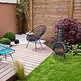 Relaxdays Terrassenofen, Feuerofen mit Schürhaken, Gusseisen, Funkenschutz, für Garten, HxBxT: 86x46x38 cm, Silber - 5