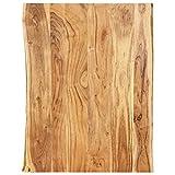 vidaXL Massivholz Tischplatte Baumkante Massivholzplatte Akazie 80x(50-60) x2,5cm