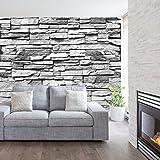 Fototapete Stein 3D 274 x 254 cm inklusive Kleister Steinwand Schwarz Weiß Weiss Mauer Ziegel Tapete