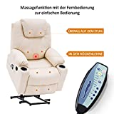 MCombo Elektrisch Aufstehhilfe Fernsehsessel Relaxsessel Massage Heizung elektrisch verstellbar USB (Creme) - 2